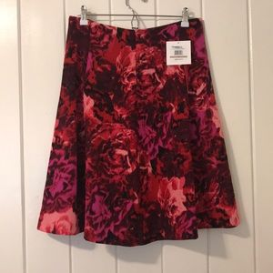 NWT Ellen Tracy Pink Floral A-Line Skirt sz 12